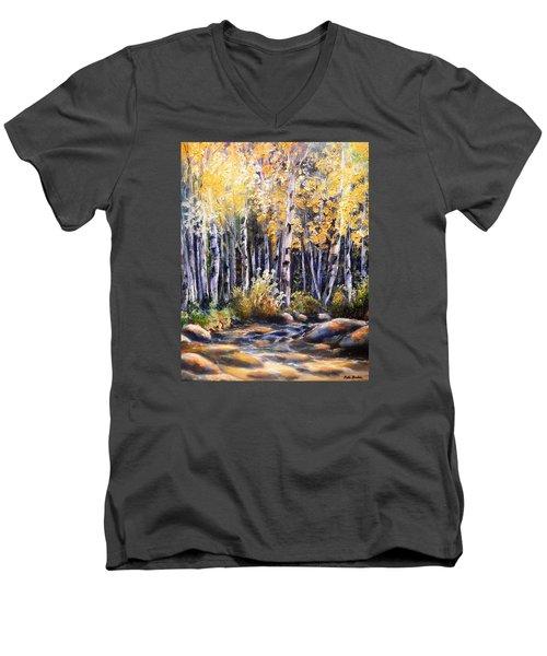Golden Glow Men's V-Neck T-Shirt by Patti Gordon