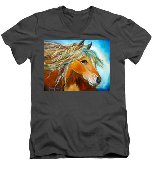 Men's V-Neck T-Shirt featuring the painting Golden Horse by Jenny Lee