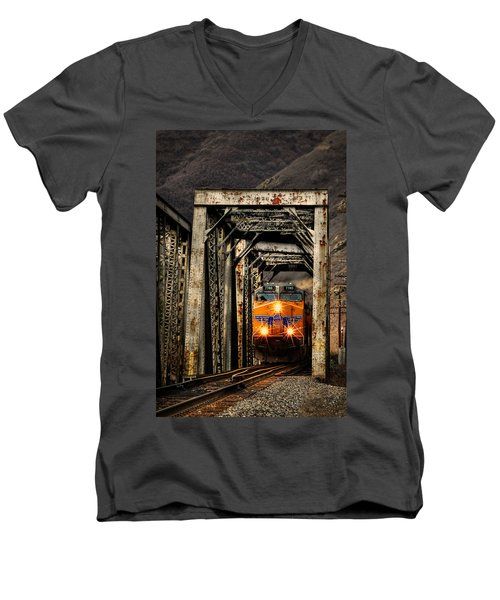 Men's V-Neck T-Shirt featuring the photograph Golden Hour Crossing by Ken Smith