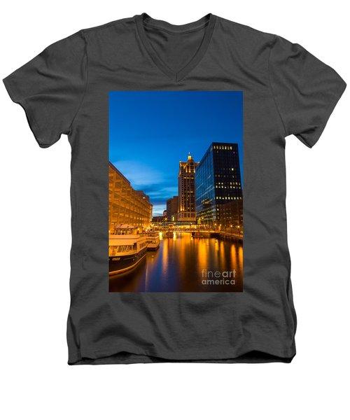Golden Hour Milwaukee River Men's V-Neck T-Shirt