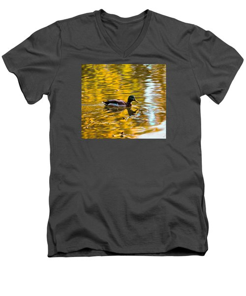 Men's V-Neck T-Shirt featuring the photograph Golden   Leif Sohlman by Leif Sohlman