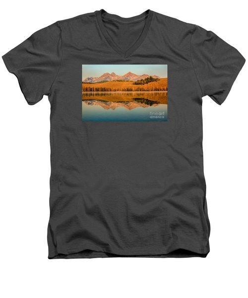 Golden Mountains  Reflection Men's V-Neck T-Shirt by Robert Bales