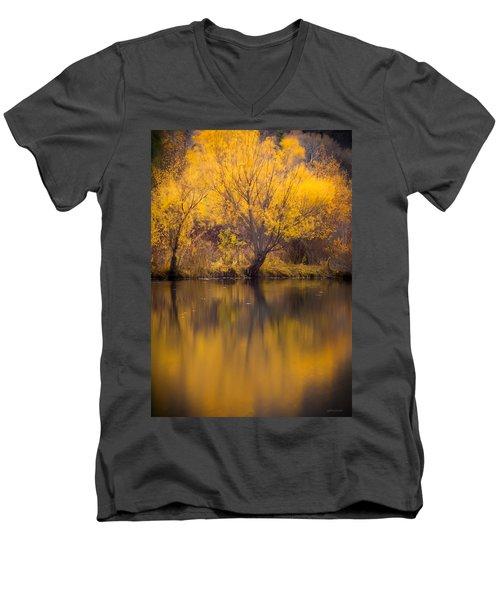 Golden Pond Men's V-Neck T-Shirt by Steven Milner