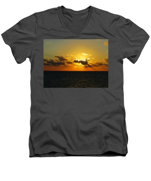 Men's V-Neck T-Shirt featuring the photograph Golden Rays Sunset by Jennifer Wheatley Wolf