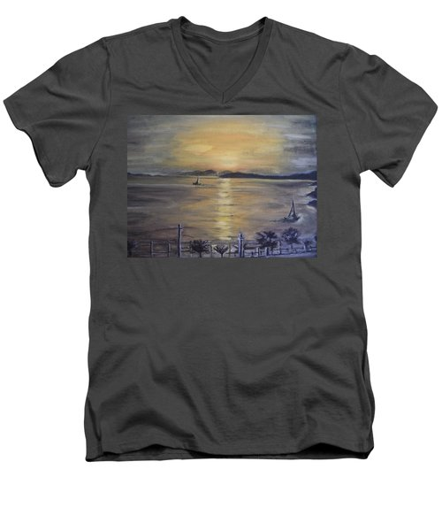 Golden Sea View Men's V-Neck T-Shirt by Teresa White