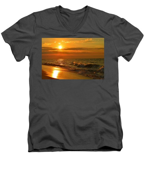 Golden Sunrise Colors With Waves And Horizon Clouds On Navarre Beach Men's V-Neck T-Shirt by Jeff at JSJ Photography