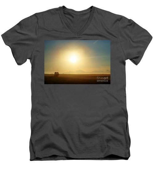 Men's V-Neck T-Shirt featuring the photograph Golden Sunset by Judy Palkimas