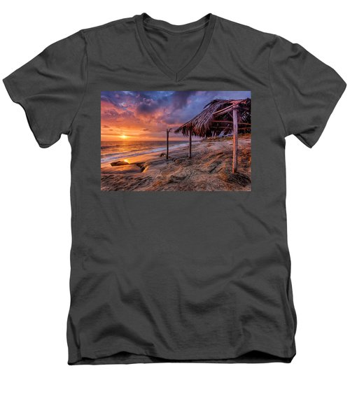 Golden Sunset The Surf Shack Men's V-Neck T-Shirt by Peter Tellone