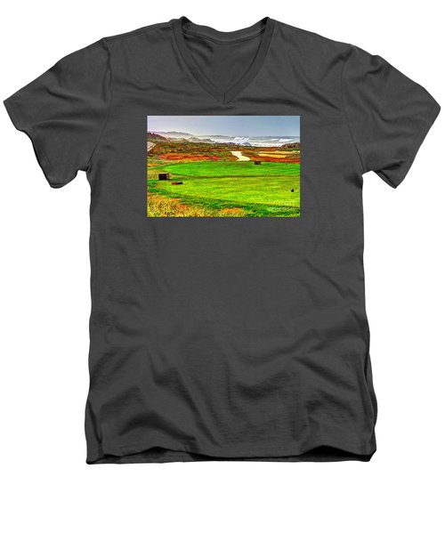 Golf Tee At Spyglass Hill Men's V-Neck T-Shirt by Jim Carrell
