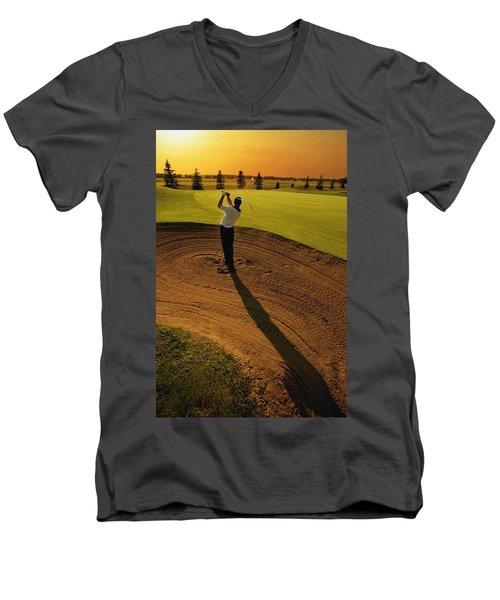 Golfer Taking A Swing From A Golf Bunker Men's V-Neck T-Shirt by Darren Greenwood