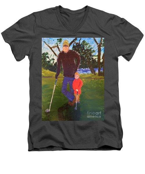 Men's V-Neck T-Shirt featuring the painting Golfing by Donald J Ryker III