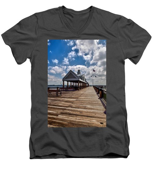 Men's V-Neck T-Shirt featuring the photograph Gone Fishing by Sennie Pierson