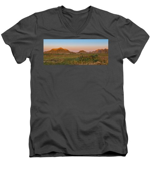 Men's V-Neck T-Shirt featuring the photograph Good Morning Badlands II by Patti Deters