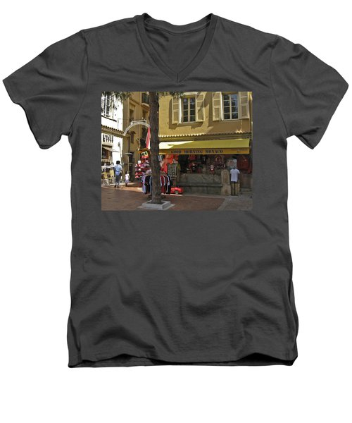 Men's V-Neck T-Shirt featuring the photograph Good Morning Monaco by Allen Sheffield
