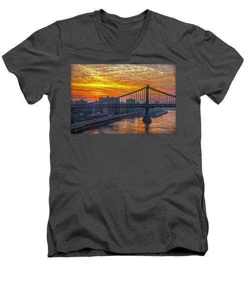 Good Morning New York Men's V-Neck T-Shirt by Hanny Heim