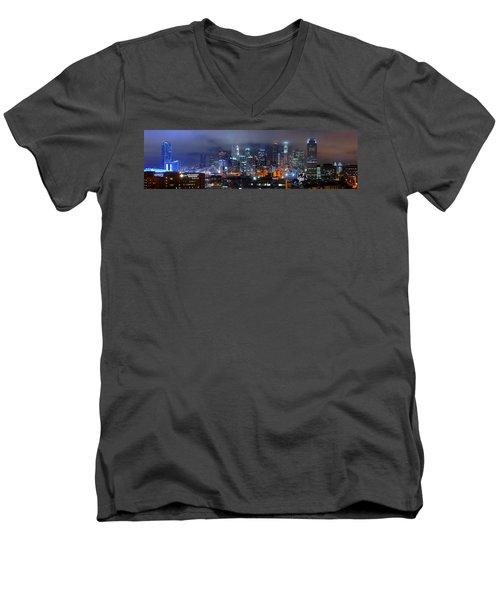 Gotham City - Los Angeles Skyline Downtown At Night Men's V-Neck T-Shirt