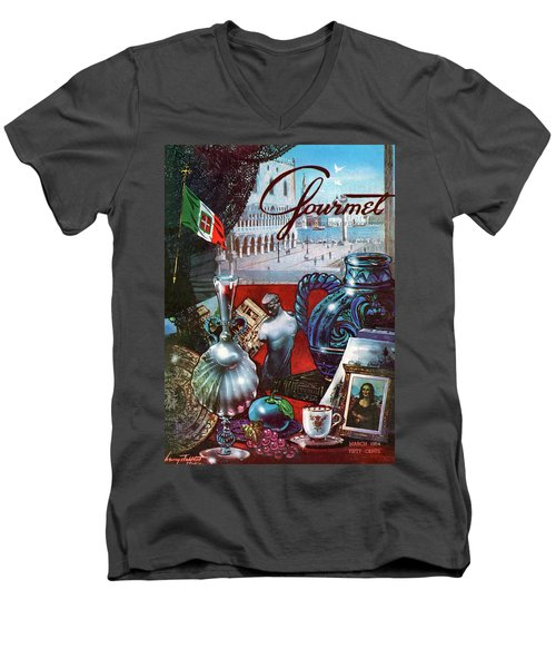 Gourmet Cover Featuring A Variety Of Italian Men's V-Neck T-Shirt
