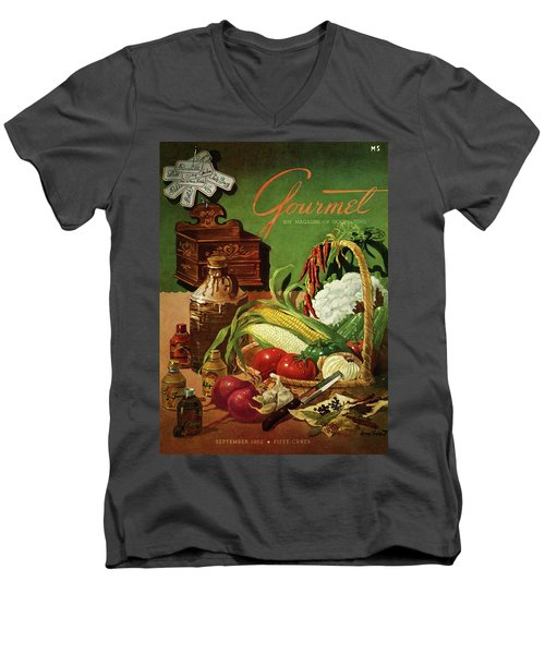 Gourmet Cover Featuring A Variety Of Vegetables Men's V-Neck T-Shirt by Henry Stahlhut