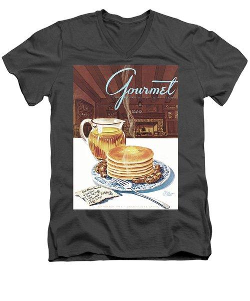 Gourmet Cover Of Pancakes Men's V-Neck T-Shirt