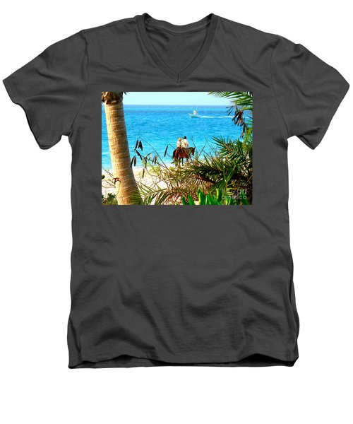 Men's V-Neck T-Shirt featuring the photograph Grace Bay Riding by Patti Whitten
