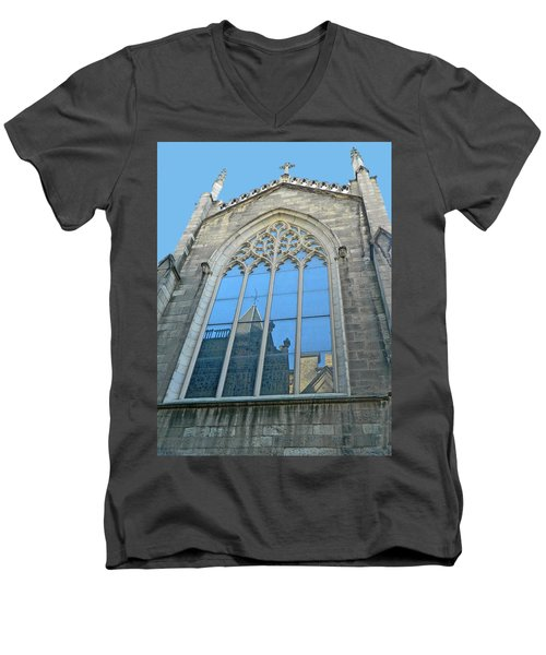 Men's V-Neck T-Shirt featuring the photograph Grace Episcopal Church Nyc by Emmy Marie Vickers