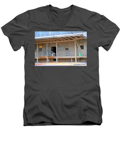 Men's V-Neck T-Shirt featuring the photograph Grain Elevator by Terri Gostola
