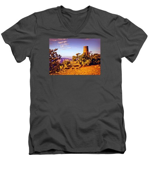 Men's V-Neck T-Shirt featuring the painting Grand Canyon National Park Golden Hour Watchtower by Bob and Nadine Johnston