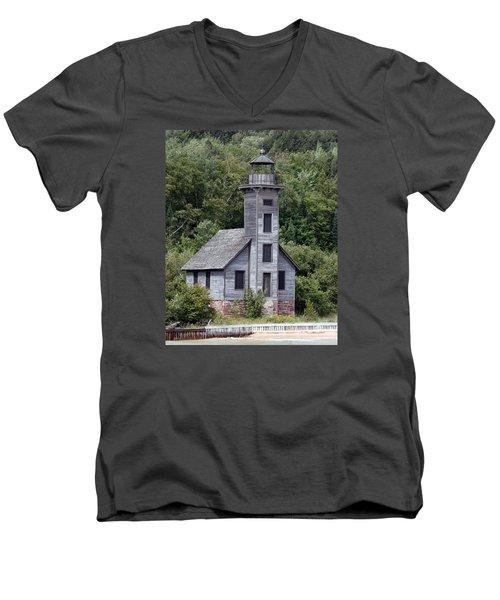 Grand Island East Channel Lighthouse Men's V-Neck T-Shirt by George Jones