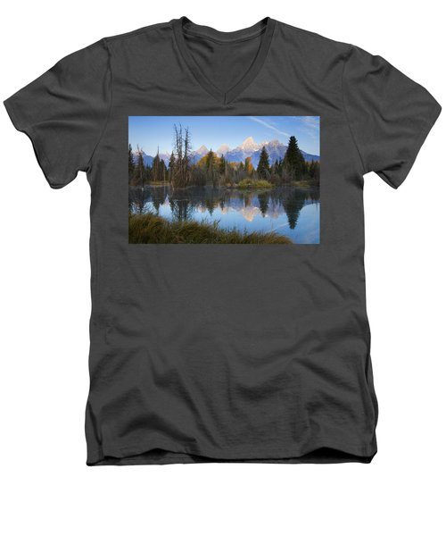 Grand Teton Morning Reflection Men's V-Neck T-Shirt by Sonya Lang