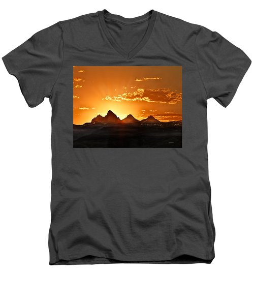Grand Teton Sunrise Men's V-Neck T-Shirt
