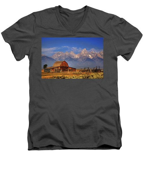 Grand Tetons From Moulton Barn Men's V-Neck T-Shirt