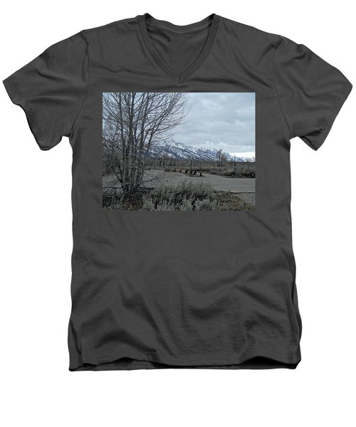 Grand Tetons Landscape Men's V-Neck T-Shirt by Michele Myers