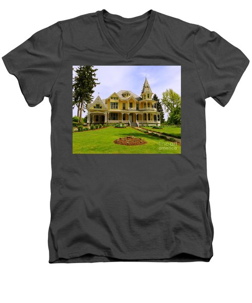 Men's V-Neck T-Shirt featuring the photograph Grand Yellow Victorian by Becky Lupe
