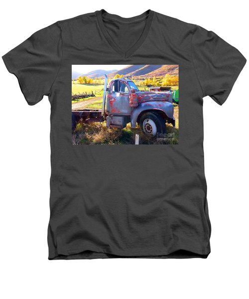 Men's V-Neck T-Shirt featuring the photograph Grandpa's Mack Truck by Jackie Carpenter
