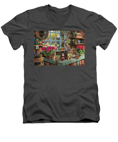 Grandpa's Potting Shed Men's V-Neck T-Shirt by Steve Read
