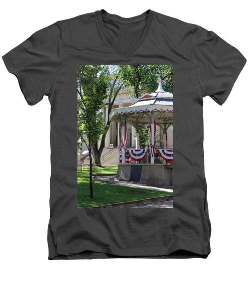 Men's V-Neck T-Shirt featuring the photograph Grandstand Patriotism  by Natalie Ortiz