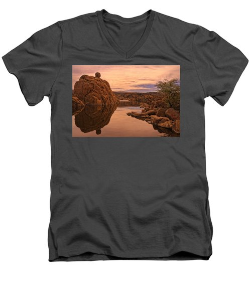 Men's V-Neck T-Shirt featuring the photograph Granite Dells by Priscilla Burgers