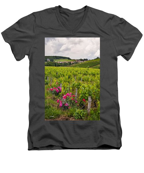 Men's V-Neck T-Shirt featuring the photograph Grapes And Roses by Allen Sheffield