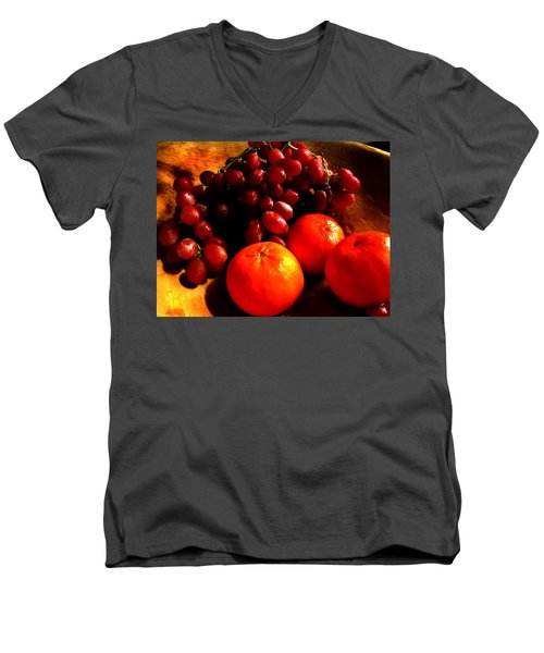 Men's V-Neck T-Shirt featuring the photograph Grapes And Tangerines by Greg Allore