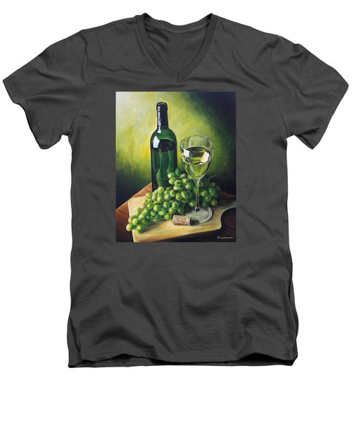 Grapes And Wine Men's V-Neck T-Shirt by Kim Lockman