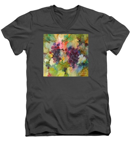 Grapes In Light Men's V-Neck T-Shirt by Michelle Abrams