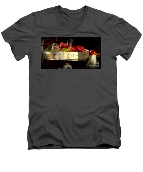 Grapes With Weighing Scale Men's V-Neck T-Shirt by Miriam Danar