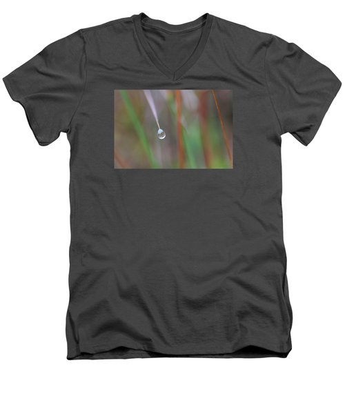 Men's V-Neck T-Shirt featuring the photograph Grass Droplet by Dreamland Media