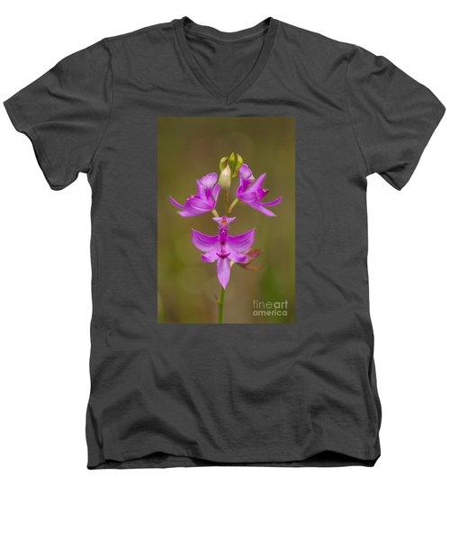 Grasspink #1 Men's V-Neck T-Shirt by Paul Rebmann