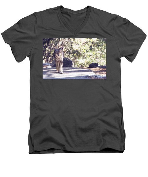 Coyote And Me At Vernal Falls Men's V-Neck T-Shirt