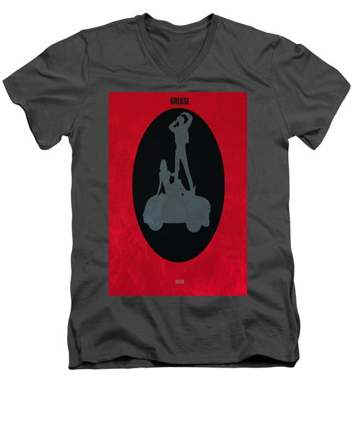 Men's V-Neck T-Shirt featuring the digital art Grease Movie Poster by Brian Reaves
