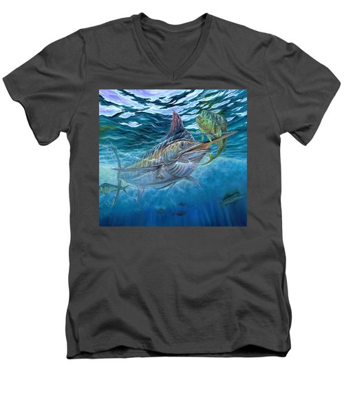 Great Blue And Mahi Mahi Underwater Men's V-Neck T-Shirt