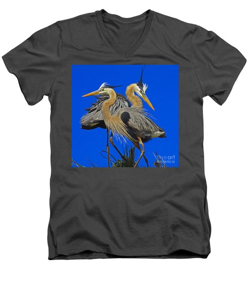 Men's V-Neck T-Shirt featuring the photograph Great Blue Heron Family by Larry Nieland