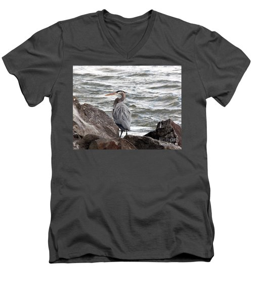 Men's V-Neck T-Shirt featuring the photograph Great Blue Heron by Trina  Ansel
