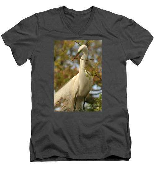 Great Egret Impressions Men's V-Neck T-Shirt
